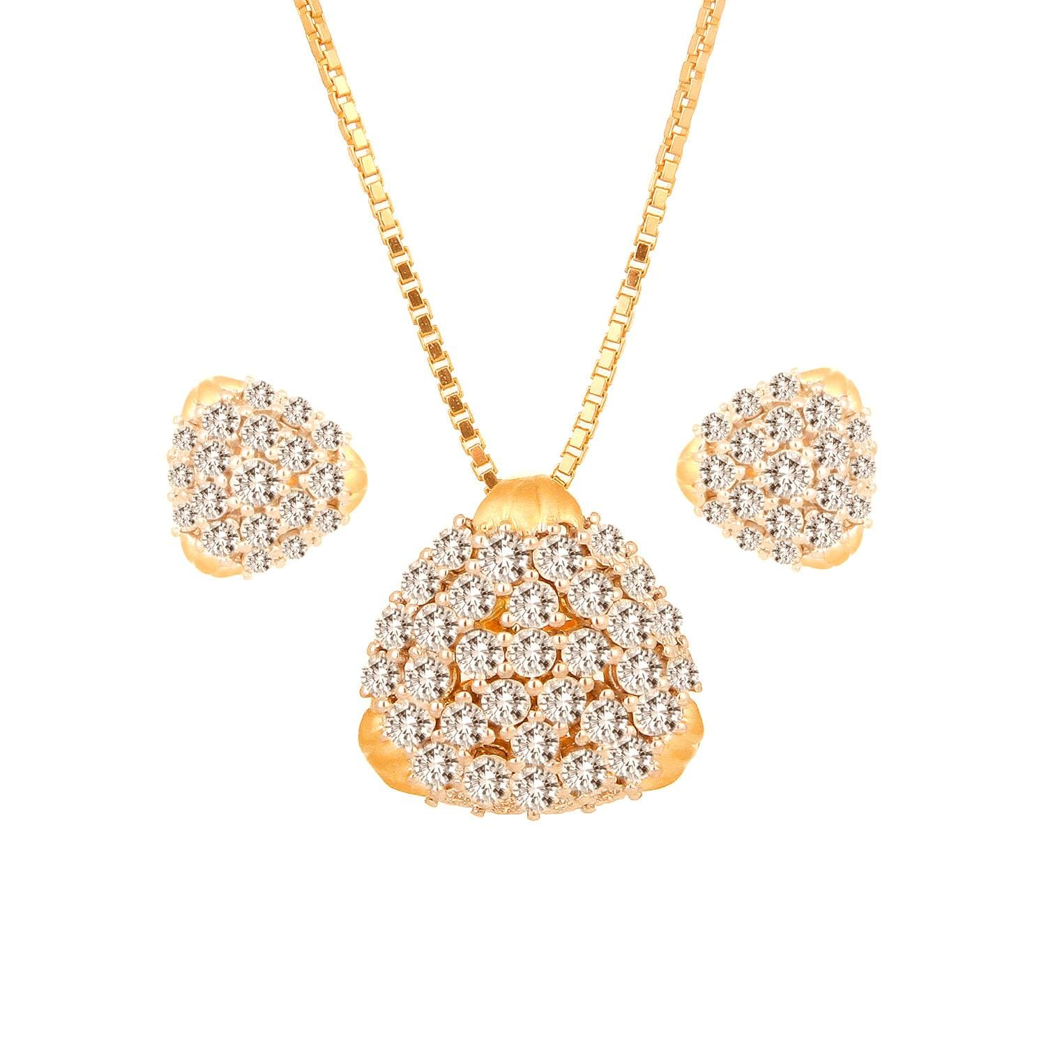 Buy Magnificent Gold and Diamond Tanishq Pendant Set At Best Price