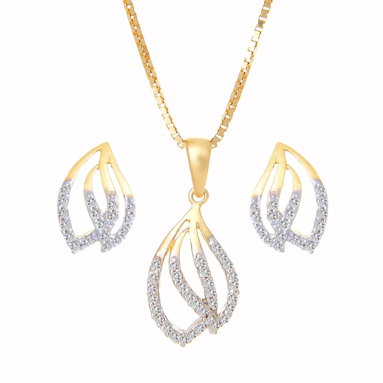 Buy leaf shaped gold and diamond tanishq pendant set at best price buy leaf shaped gold and diamond tanishq pendant set at best price online india titan mozeypictures Choice Image