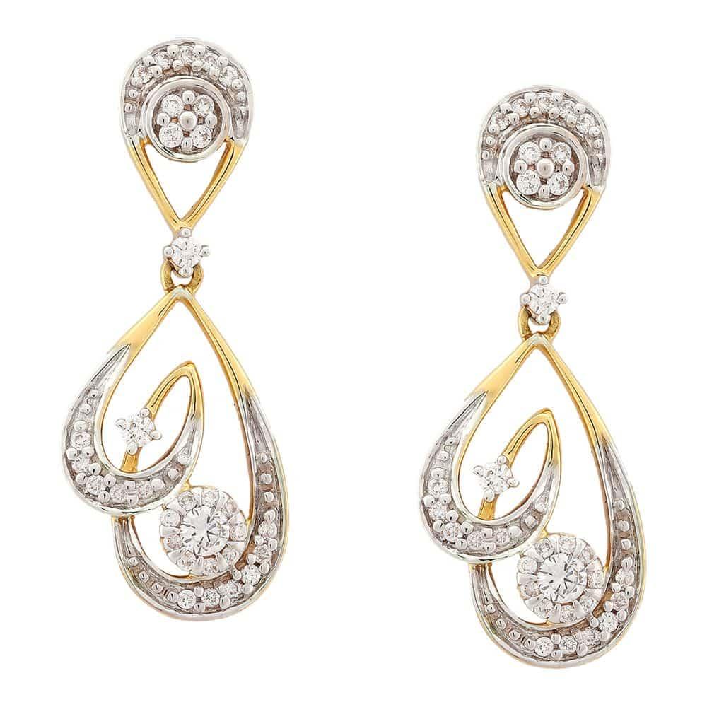 Tanishq 18 KT Diamond Studded Gold Earing for Women ID ...