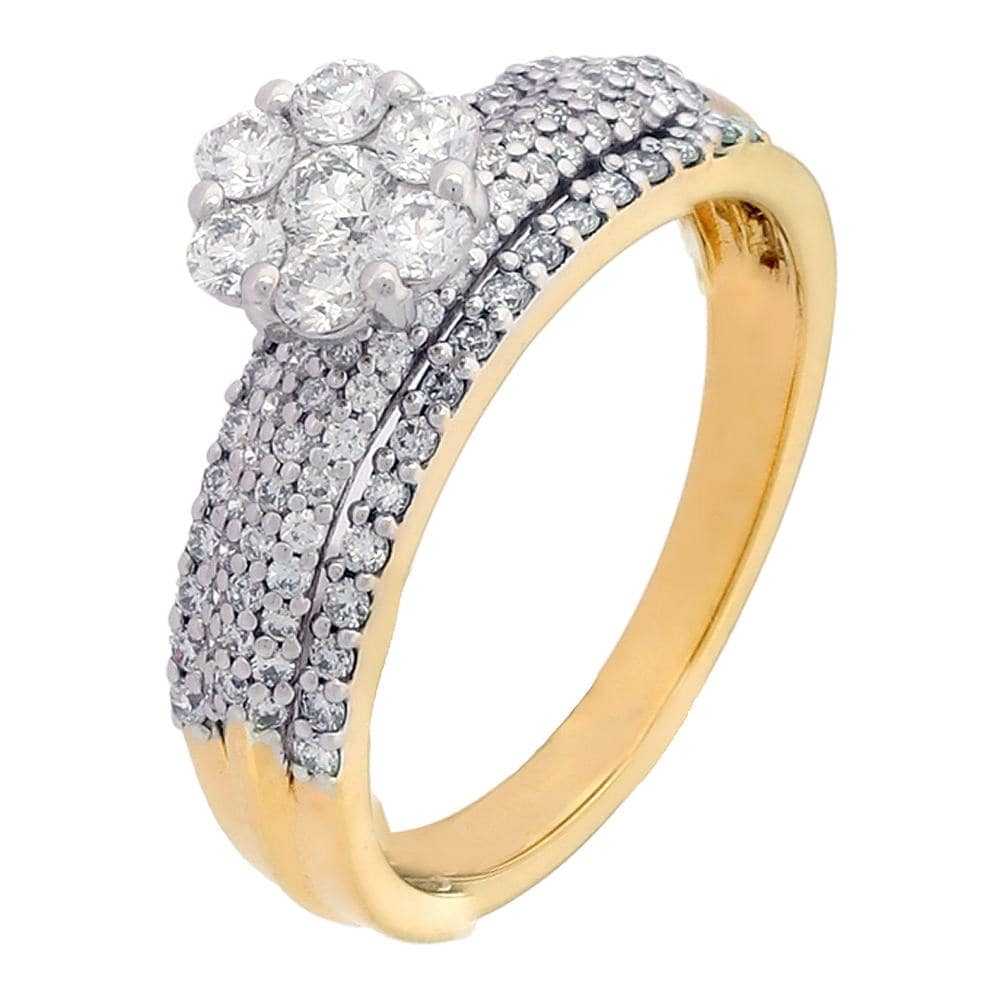 Tanishq 18 KT Diamond Studded Gold Unisex Finger Ring ID
