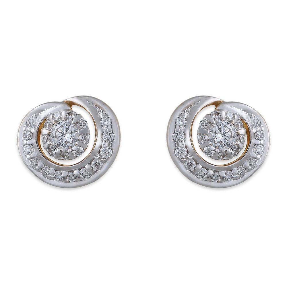 Buy Tanishq 18 KT Gold Stud Earring Diamond Studded ID ...