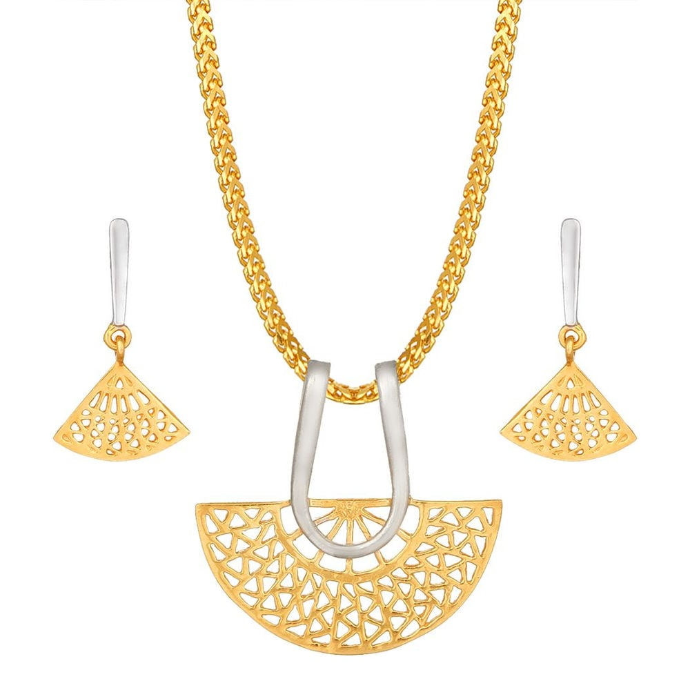 Tanishq 22KT Yellow Gold Pendant Set with Triangular and