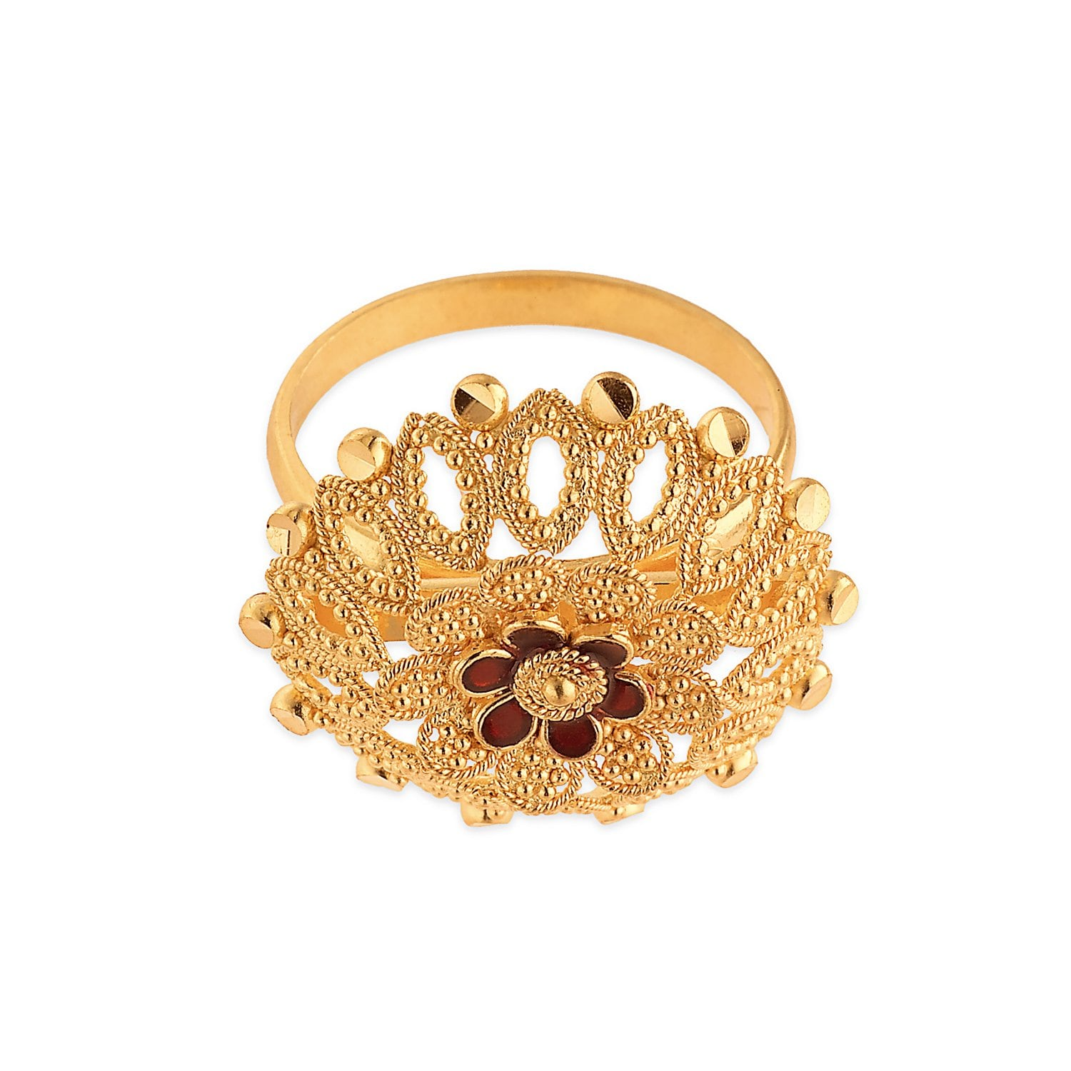 Buy Tanishq 22KT Yellow Gold Finger Ring for Women AT Best Price ...