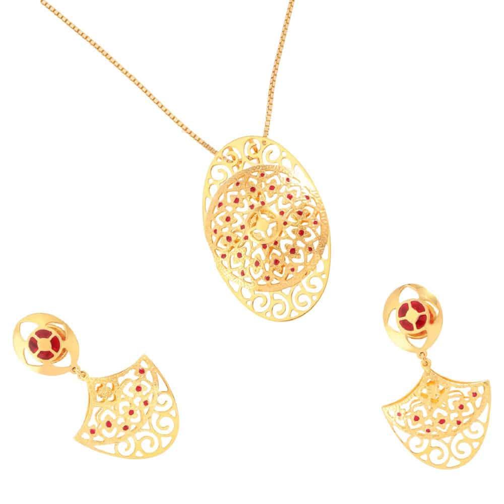 Buy tanishq 22 kt gold pendant set id 5122141ctaba00 titan aloadofball Choice Image