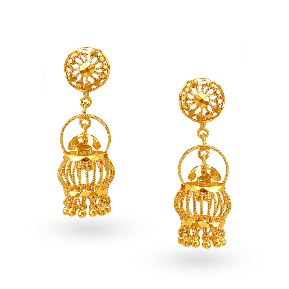 gold itm wedding steps wear loading set earrings is s image party jhumki plated long jhumka