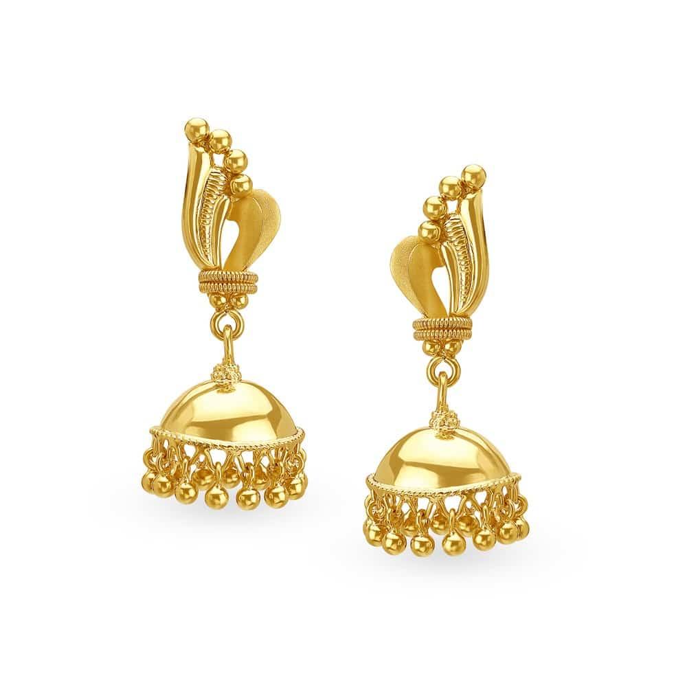 Buy Tanishq Gold Jhumka Earrings for Women 512217JJIABA00 | Shop ...