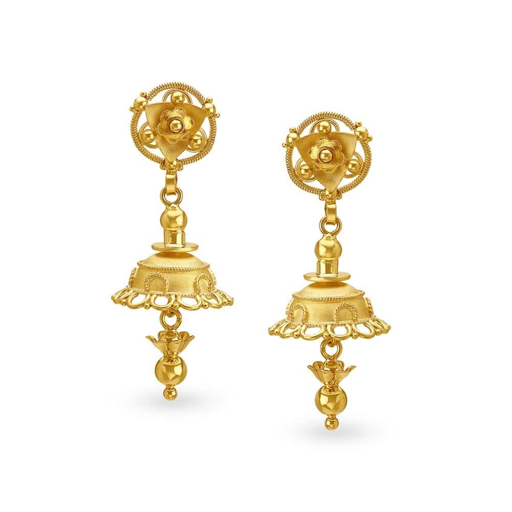 Buy Tanishq Gold Jhumka Earrings for Women 512217JJNABA00   Shop ...