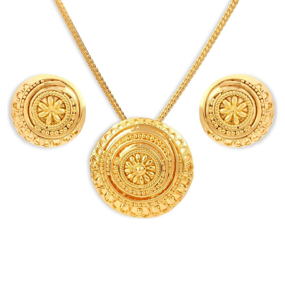 with index earrings chaand set gold pendant