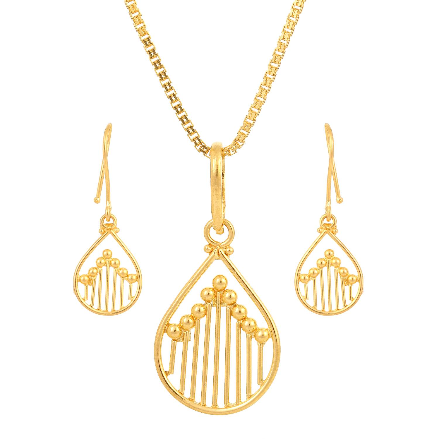 Buy Tanishq 22KT Yellow Gold Pendant Set At Best Price line