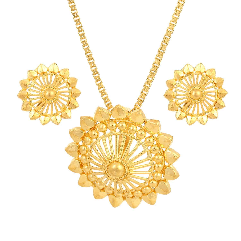 Buy Circular Golden Tanishq Pendant Set At Best Price line India