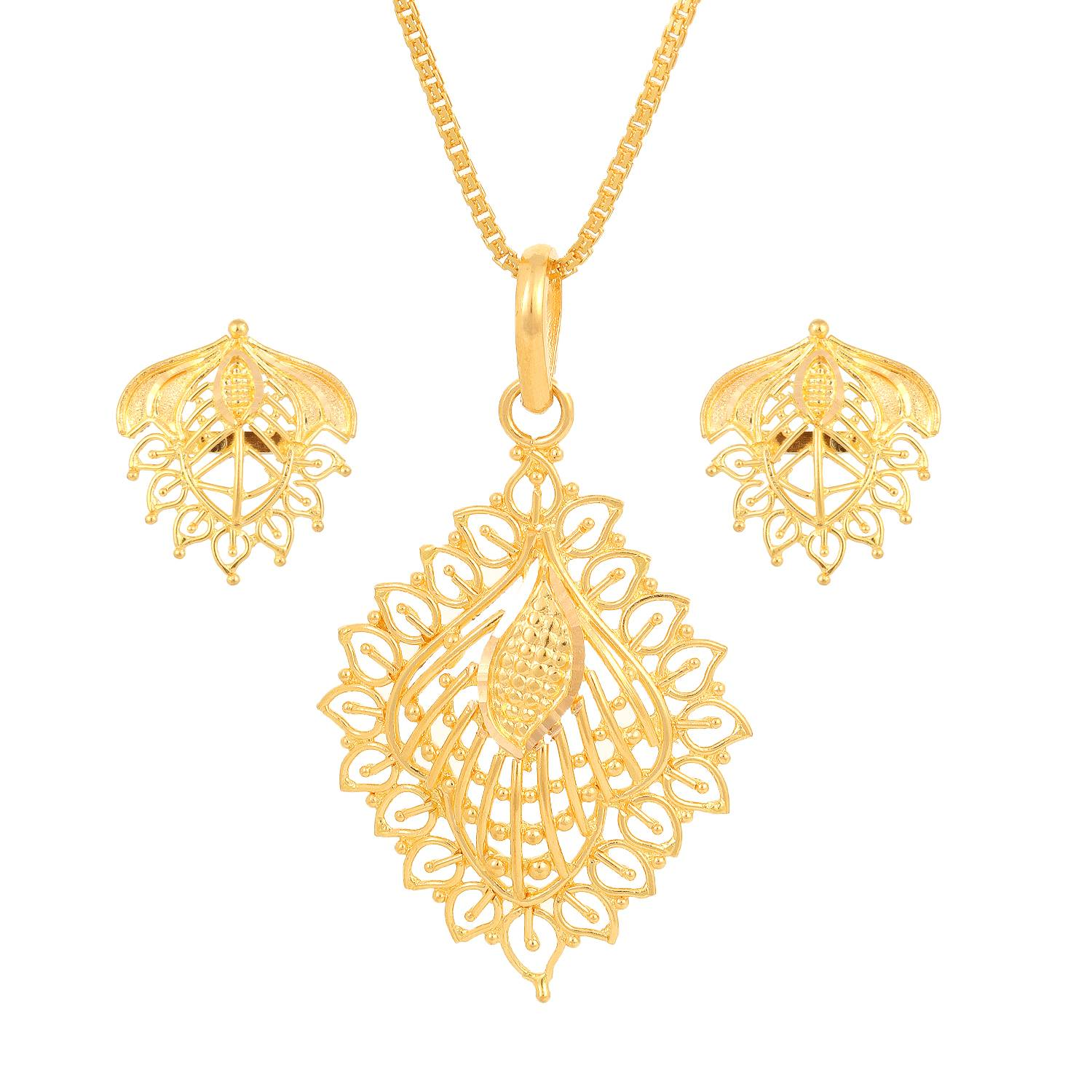 Buy Leaf shaped Golden Tanishq Pendant for Women AT Best Price
