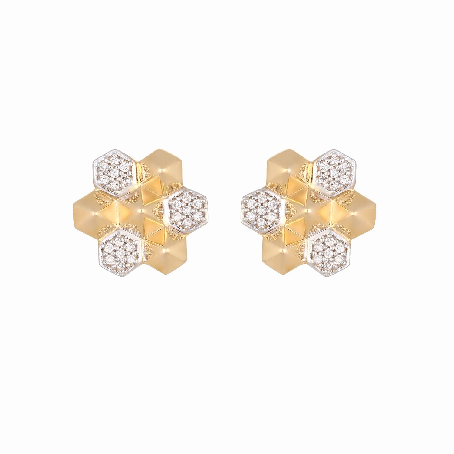 b62255cd5 Mia by Tanishq 14KT Yellow Gold Diamond Stud Earrings with Floral Design