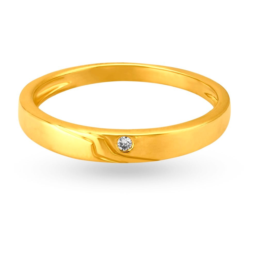 buy tanishq 18kt yellow gold studded finger ring for