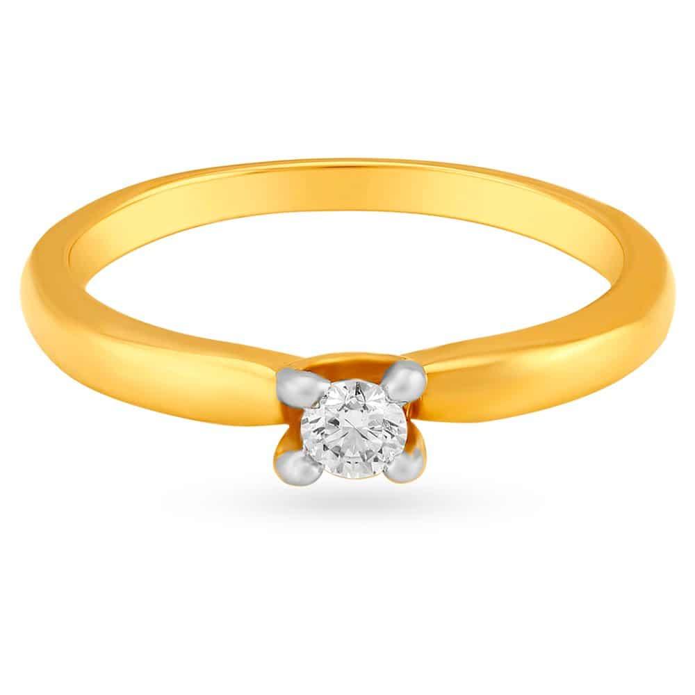Buy Tanishq 18 KT Gold Finger Ring Diamond Studded ID ...