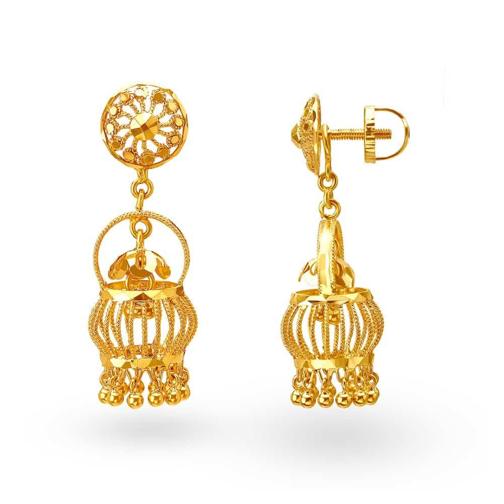 Buy Tanishq Gold Jhumka Earrings for Women 512217JJHABA00 | Shop ...