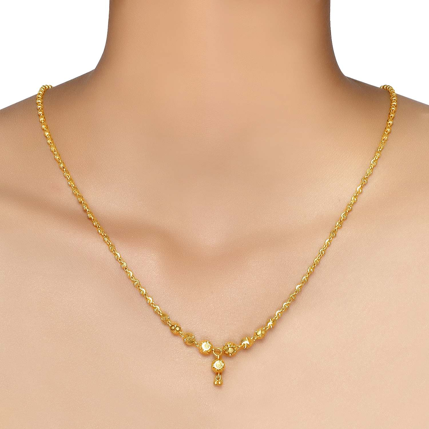 Buy Classy Yellow Gold Tanishq Necklace CDBMAA00 At Best