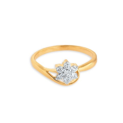 Buy Tanishq 18KT Yellow Gold Studded Finger Ring At Best Price