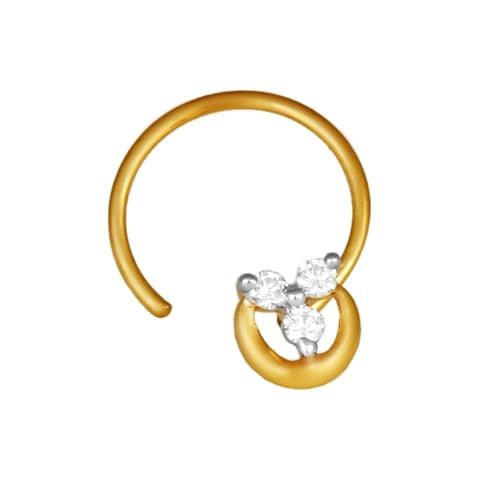 Tanishq 18 KT Diamond Studded Gold Nose Pin for Women ID