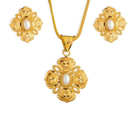 Buy intricate golden tanishq pendant set for women at best price yellow gold cultured pearl pendant set jewellery tanishq tanishq 22kt yellow gold cultured pearl pendant set with floral design mozeypictures Image collections