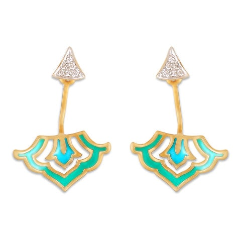 7b6106144d437 Mia by Tanishq 14KT Yellow Gold Diamond Drop Earrings with Blue ...