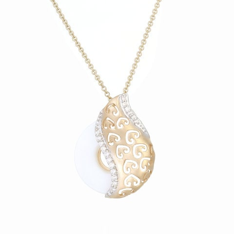 Buy trendy gold and diamond tanishq pendant 552811pbiaaa52 for yellow white and rose gold pendant with diamond stone jewellery tanishq tanishq mia 14kt yellow white and rose gold diamond pendant aloadofball Choice Image