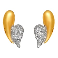 Tanishq Diamond Treats 18KT Yellow Gold Diamond Stud Earrings with Paisley Design