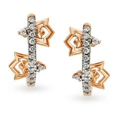 Tanishq Diamond Treats 18KT Rose Gold Diamond Hoop Earrings with Floral Design
