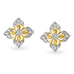 Tanishq Diamond Treats 18KT Yellow and White Gold Diamond Stud Earrings