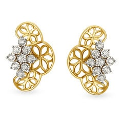 Tanishq Diamond Treats 18KT Yellow and White Gold Diamond Stud Earrings with Floral Design