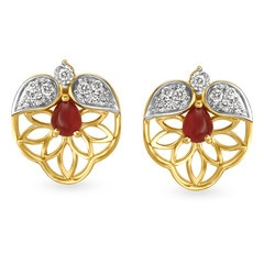 Tanishq Diamond Treats 18KT Yellow and White Gold Diamond and Ruby Stud Earrings