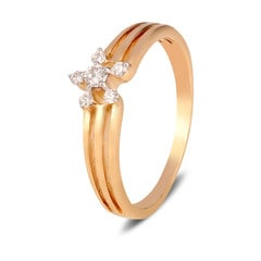 Tanishq Diamond Treats 18KT Yellow Gold Diamond Finger Ring with Floral Design