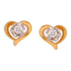 Tanishq Diamond Treats 18KT Yellow Gold Diamond Stud Earrings Floral and Heart Design