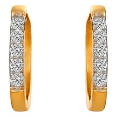 Tanishq Diamond Treats 18KT Yellow Gold Diamond Hoop Earrings
