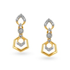 Tanishq 18KT Gold and Diamond Drop Earrings