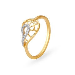 Tanishq 18KT Yellow Gold Diamond Finger Ring