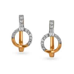 Tanishq 18KT Rose Gold Diamond Hoop Earrings