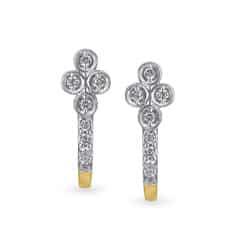 Tanishq 18KT Yellow Gold Diamond Hoop Earrings