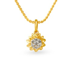 Tanishq 18KT Yellow Gold Diamond Pendant with Sun Design