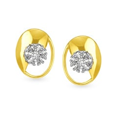 Tanishq 18KT Yellow Gold Diamond Stud Earrings with Oval Design