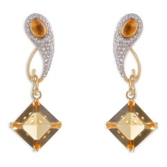 Tanishq Iva Yellow Gold Citrine Drop Earrings