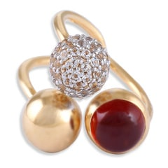 Tanishq Iva 18KT Yellow Gold Topaz Finger Ring with Orb Design