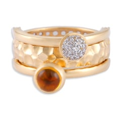 Tanishq Iva 18KT Yellow Gold Topaz Finger Ring with Circular Design