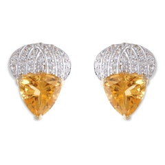 Tanishq Iva Yellow Gold Citrine Hoop Earrings
