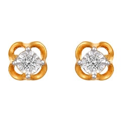 Tanishq Diamond Treats 18KT Yellow Gold Diamond Stud Earrings with Floral Design