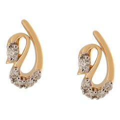 Tanishq Diamond Treats 18KT Yellow Gold Diamond Stud Earrings with Swan Design