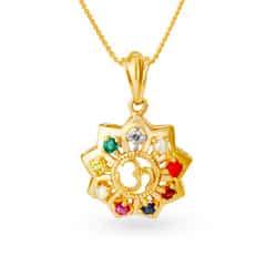 Tanishq 18KT Yellow Gold Sapphire Pendant