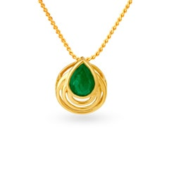 Tanishq 18KT Yellow Gold Emerald Pendant