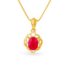 Tanishq 18KT Yellow Gold Ruby Pendant