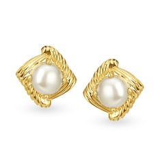 Tanishq 18KT Yellow Gold Pearl Stud Earrings