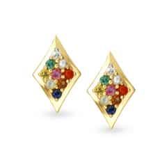 Tanishq 18KT Yellow Gold Sapphire Stud Earrings